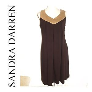Sandra Darren Brown Sleeveless Shift Dress